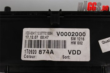 Combined Instrument - VW Touran -08 1T0920874A